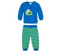 Baby Anzug 2-teilig grün-blau geringelt