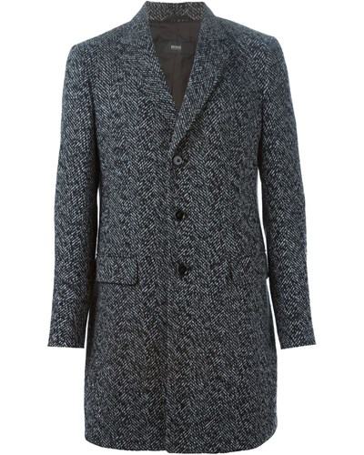 hugo boss herren tweed mantel mit knopfverschluss reduziert. Black Bedroom Furniture Sets. Home Design Ideas