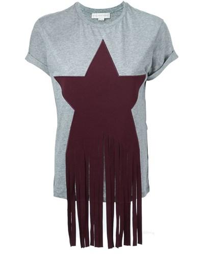 stella mccartney damen t shirt mit fransen reduziert. Black Bedroom Furniture Sets. Home Design Ideas