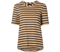 striped half sleeve T-shirt