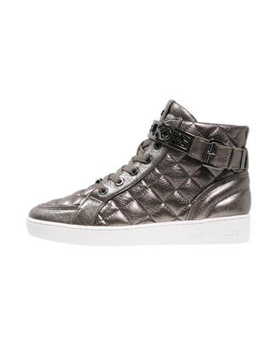 michael kors damen michael michael kors essex sneaker high gunmetal reduziert. Black Bedroom Furniture Sets. Home Design Ideas