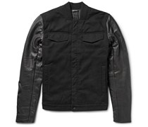 Padded Cotton-Twill and Leather Jacket