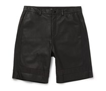 T by Alexander Wang Leather and Twill Shorts