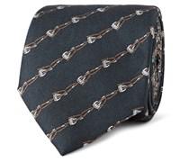 Stirrup-Print Woven Silk Tie