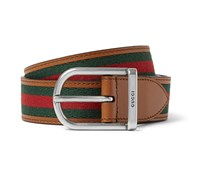 3cm Striped Webbed Leather Belt