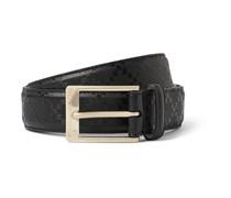 Black 3cm Embossed Leather Belt