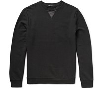 T by Alexander Wang Leather-Trimmed Loopback Cotton-Jersey Sweatshirt