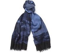 Printed Slubbed Silk and Wool-Blend Scarf