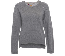 Cashmere Sweater Mit Zip Grey Melange