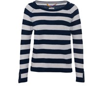 Wide Cashmere Sweater Navy Ecru