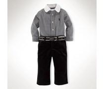Ralph Lauren Children Set aus Baumwollhemd und Samthose