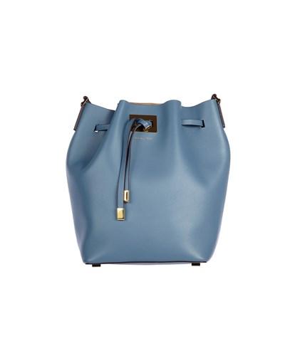 michael kors beutel tasche aus leder blau. Black Bedroom Furniture Sets. Home Design Ideas