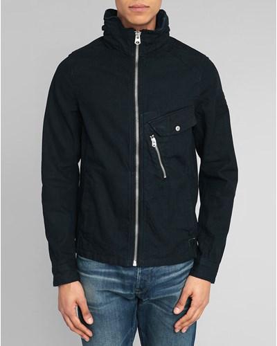 indigoblaue jeansjacke mit rei verschluss am kragen und. Black Bedroom Furniture Sets. Home Design Ideas