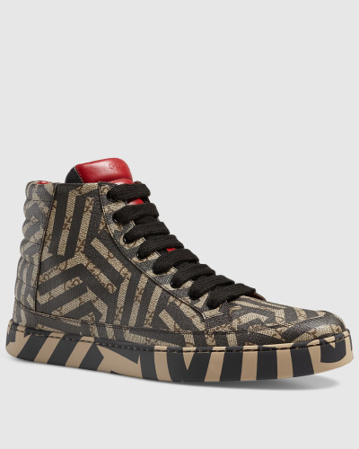 gucci herren hoher sneaker mit gg caleido druck reduziert. Black Bedroom Furniture Sets. Home Design Ideas