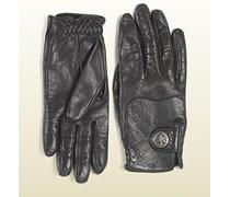 schwarze Handschuhe mit Gucci Wappen aus der Reitsport Kollektion