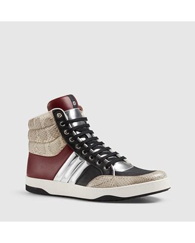 gucci herren hoher sneaker aus gepolstertem schlangenleder. Black Bedroom Furniture Sets. Home Design Ideas