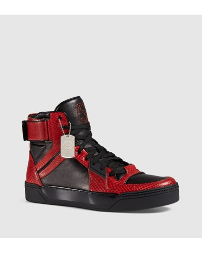 gucci herren hoher sneaker aus schlangenleder exklusiv. Black Bedroom Furniture Sets. Home Design Ideas