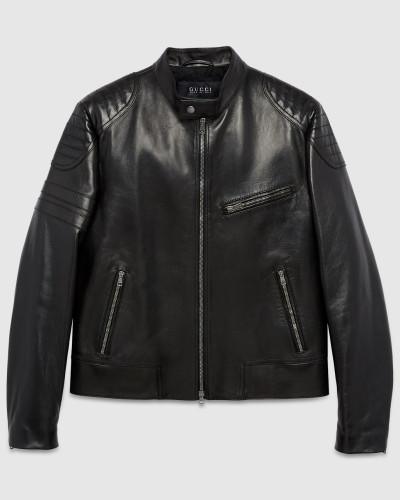 gucci herren biker jacke aus schwarzem leder reduziert. Black Bedroom Furniture Sets. Home Design Ideas