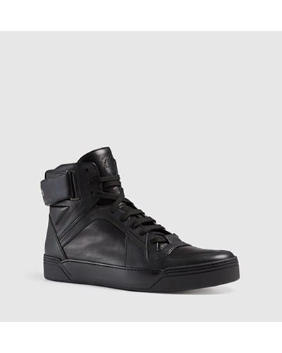 gucci herren hoher sneaker aus leder reduziert. Black Bedroom Furniture Sets. Home Design Ideas