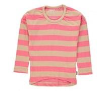 Gestreiftes Langarm T-Shirt Rosa