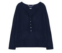 Dear Cashmere Pullover V-Ausschnitt Geknöpft Ozeanblau