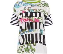 Blusenshirt mit Streifenmuster und Print