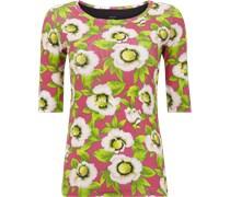 Shirt aus Feinripp mit floralem Muster