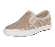 Slip-On Sneakers aus Leder in Metallic-Optik