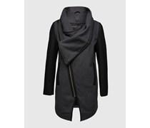minimum Mantel mit Besätzen in Lederoptik 'Atalie' schwarz/grau
