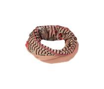 PIECES Schlauchschal aus Baumwolle mit Webband 'Jicci' weiss/mischfarben
