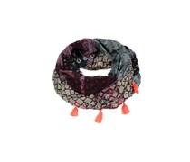 PIECES Loop-Schal mit Quasten 'Nerges' blau/rot/jade