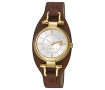 ESPRIT Armbanduhr, »cuff chic light brown, ES106782004«, Esprit braun
