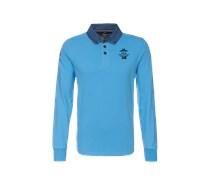 New Zealand Auckland Poloshirt mit Jeans-Kragen blau