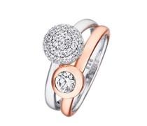 ESPRIT Ring, »double embrance glam, ESRG92396A160-190«, Esprit anthrazit