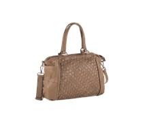 FREDsBRUDER Handtasche aus Leder 'Weave' braun
