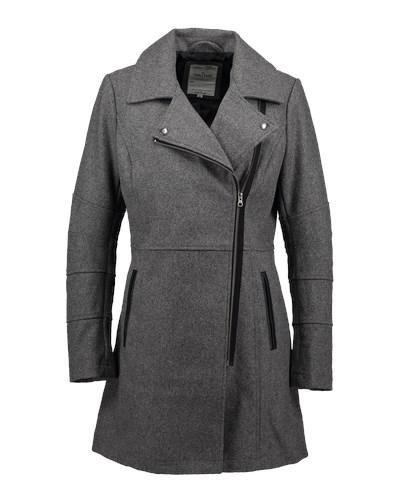 tom tailor damen tom tailor denim biker mantel grau. Black Bedroom Furniture Sets. Home Design Ideas