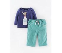 Blau Drossel/Blassblau Hübsches T-Shirt- und Hose-Set