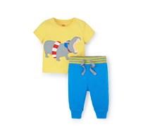 Gelb Nilpferd/Neonblau Sommerliches Jerseyset mit Applikation