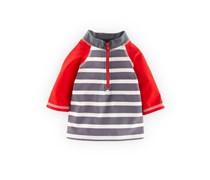 Rot/Grau Streifen Badeshirt mit Sonnenschutz