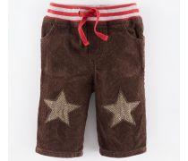Braun/Tweed Sterne Cordhose mit Sternflicken