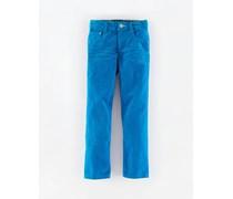 Kobalt Cord Schmale Jeans