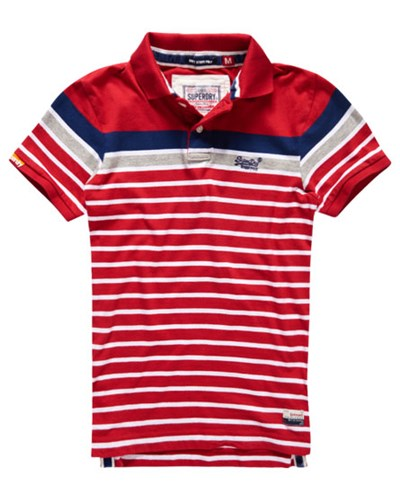 superdry herren superdry herren drift stripe polo shirt rot reduziert. Black Bedroom Furniture Sets. Home Design Ideas