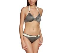 Palmers Damen Bikini-Set gefüttert Glamsation, Einfarbig, Gr. 44, 85D (Herstellergröße: D/L (Cup D/Größe L)), Grau (Anthrazit-Ecrue 968)