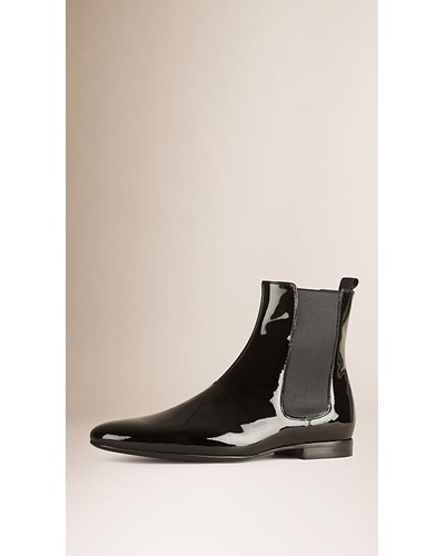 burberry herren chelsea stiefel aus lackleder reduziert. Black Bedroom Furniture Sets. Home Design Ideas