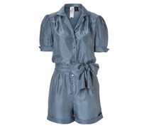 Bird by Juicy Couture Steel Blue Washed Silk Jumpsuit