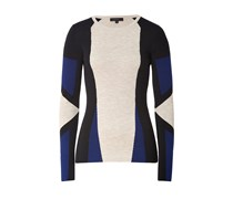 Wool Whitmore Longsleeve Pullover in Mist/Black/Oxford Blue