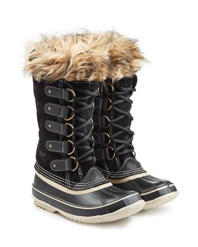 sorel damen sorel winter boots joan of arctic mit fell optik schwarz reduziert. Black Bedroom Furniture Sets. Home Design Ideas