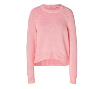 Cotton Blend Crewneck Pullover in Persimmon