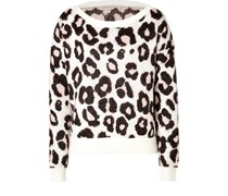 Mohair-Pullover mit Leopardenprint