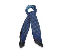 Medallion-print linen-blend scarf